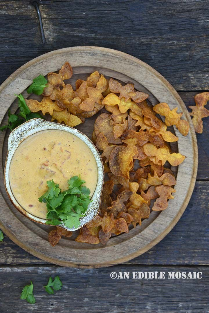 Pumpkin Queso Dip with Spooky Dippers