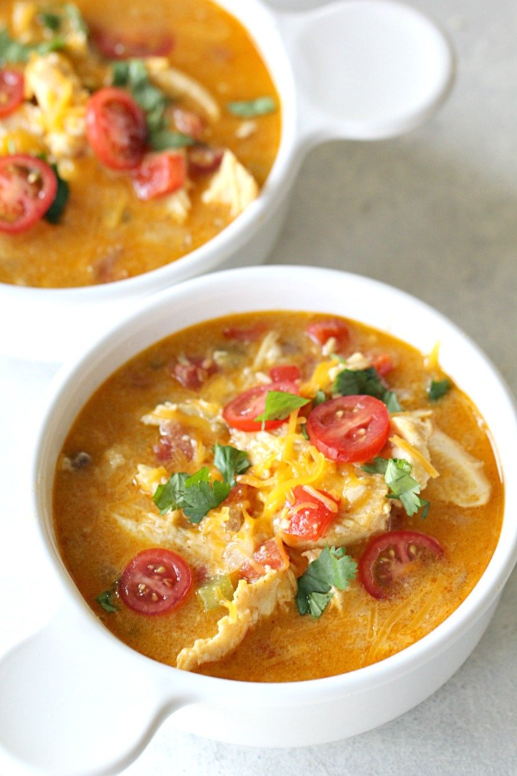:) LOW CARB, Slow Cooker Healthy King Ranch Chicken Soup
